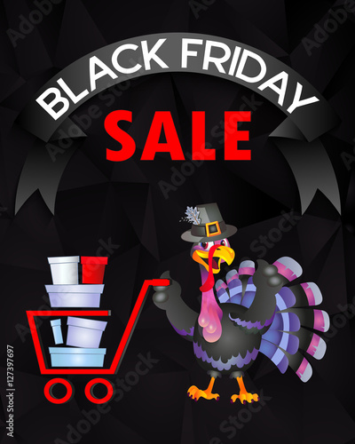 Poster Magie Thanksgiving turkey, Black Friday sales, gifts, shopping, sign, an editable file, gifts, poster.