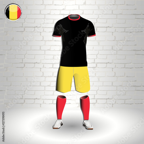 eps 10 vector football Belgium team player uniform template. National colors  sportwear. Belgian flag button chrome ring. Brick wall background b6ea9f0f0