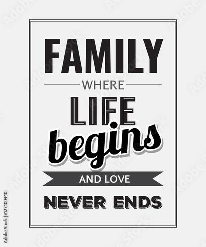 "Fotografie, Obraz  Retro motivational quote. "" Family where life begins and love ne"