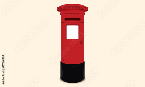 Photo British postbox - Red mail box / England London Illustration