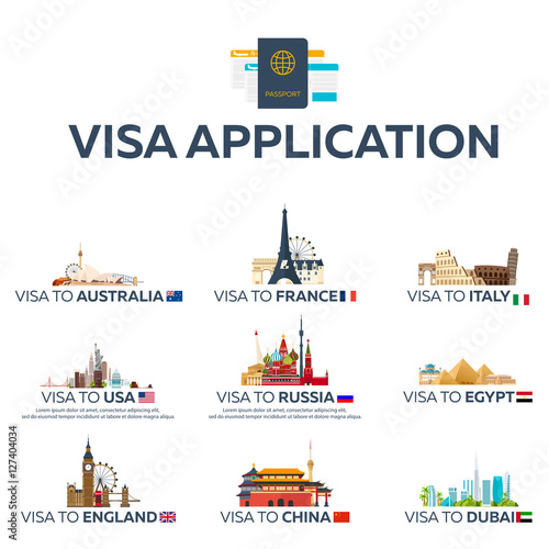 Big Set Visa To The Country Australia France Italy Usa Russia Egypt England China Dubai Document For Travel Vector Flat Illustration Buy This Stock Vector And Explore Similar Vectors At Adobe