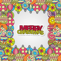 Merry Christmas background design with decoration balls elements. Greeting card border frames doodle vector illustration with lettering.