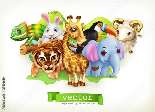 Zabawna grupa zwierząt. Śliczna żyrafa, mały tygrys, słoniątko, kameleon, pieprzojad, szczęśliwy króliczek