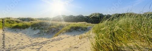 Foto op Plexiglas Noordzee Sommerliche Dünenlandschaft auf norddeutscher Insel mit Sonnenstrahlen | Nordsee - Banner