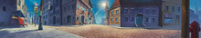 Old Town Panorama Painted Illustration