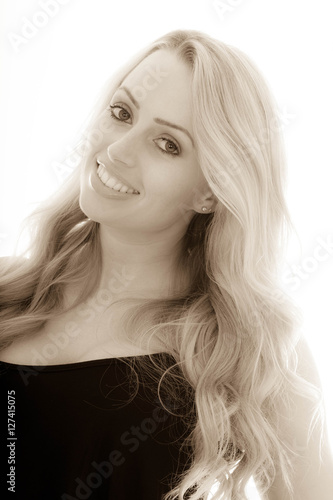 Foto op Canvas womenART Portrait of a Happy Successful Smiling Girl Looking Relaxed and Pleased