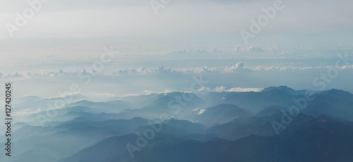Aerial view of Mount from airplane , Kyushu, Japan - 127420245