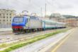 Italian train station. View of train station with train stop. Genova Brignole. HDR Version