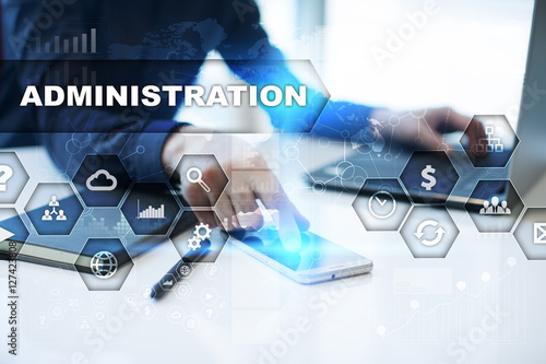 Fotografia Businessman is working in office, pressing button on virtual screen and selectin