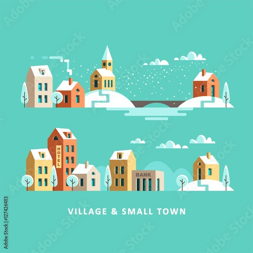 Recess Fitting Green coral Village. Small town. Rural and urban winter landscape. Vector flat illustration.