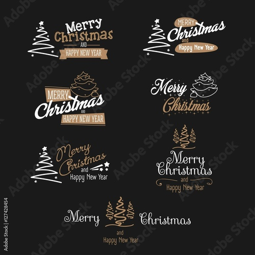 Merry christmas and happy new year signs set - Buy this stock vector ...
