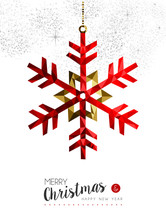 Red Snowflake Decoration For Christmas Card