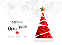 Red Christmas Tree Decoration For Greeting Card