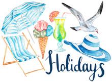 Holidays Hand Drawn Watercolor Set.