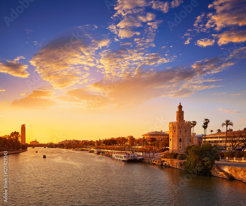 Seville sunset skyline torre del Oro in Sevilla