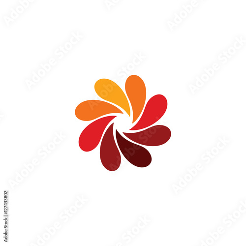 Isolated abstract red flower logo. Spiral floral petals logotype. Stylized photo lens icon. Swirl sign. Decorative element. Vector illustration.