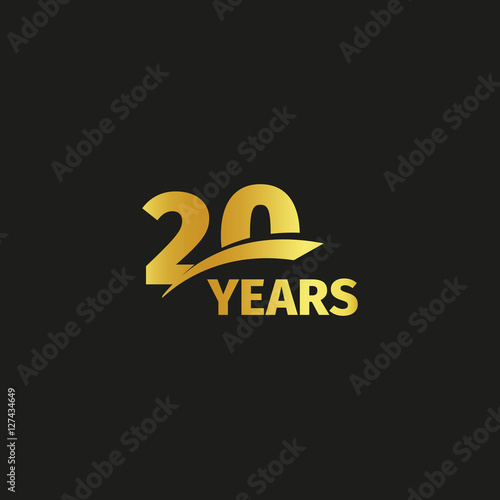 Isolated abstract golden 20th anniversary logo on black background. 20 number logotype. Twenty years jubilee celebration icon. Twentieth birthday emblem. Vector illustration.