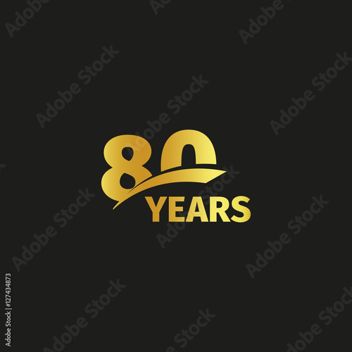 Fotografia  Isolated abstract golden 80th anniversary logo on black background
