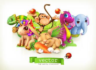 Bajkowe zwierzęta. Szczęśliwy króliczek, królik, ładny jednorożec, mały smok, słoniątko, małpa, kameleon