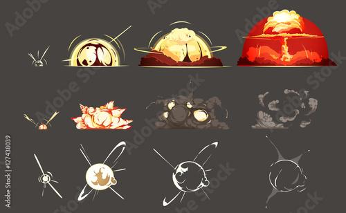 Fotografie, Tablou  Bomb Explosion Retro Cartoon Icons Collection