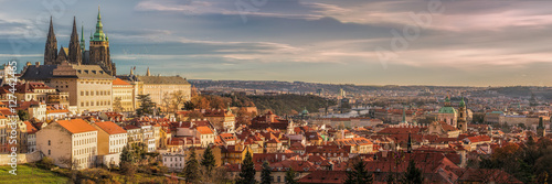 Prague panorama with Prague Castle, Prague river Vltava and many Canvas Print