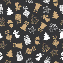 Christmas Seamless Pattern Background With