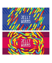 Candy Gummy Jelly Worms, Twist Gelatin Sweets Of Bright Colors On Stripes Background. Design In Childish Colorful Style. Vector Illustration