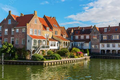 Foto auf Gartenposter Stadt am Wasser picturesque scene in Enkhuizen, Netherland