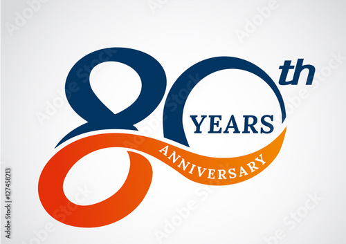 Fotografia  Template logo 80th anniversary years logo.-vector illustration