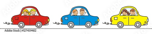 Photo Stands Cartoon cars Cars and children. Three different cars with children. Vector icon. Red, blue and yellow car in line.