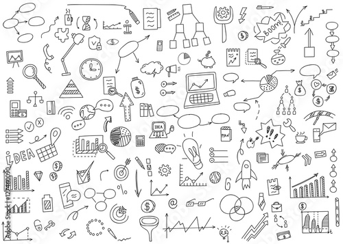 Obraz Hand draw doodle elements money and coin icon, chart graph. Concept business finance analytics earnings. Vector illustration - fototapety do salonu