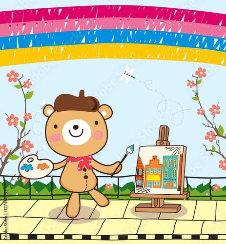 Foto op Canvas Honden cute bear with cute rainbow