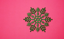 Christmas Background With Green Snowflake
