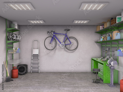 Photo garage interior; 3d illustration