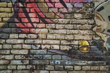 Old Graffiti Brick Wall Background Texture