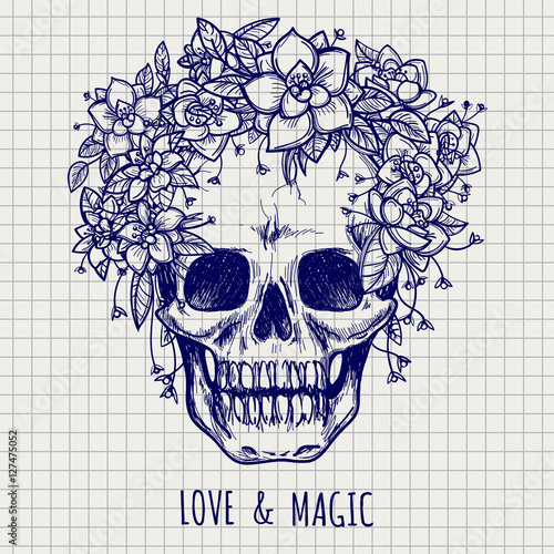 Printed kitchen splashbacks Ball pen skull in flower wreath and lettering lowe and magic on notebook page vector
