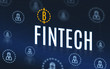 Fintech with bitcoins and customer icon floating on navy blue te