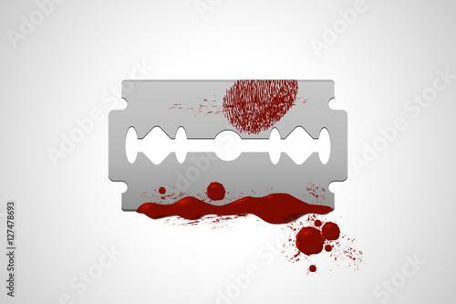 Razor blade with blood. Suicide symbol. Smeared blood fingerprint.
