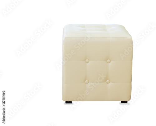 Fotografia  Beige pouf ottoman isolated over white