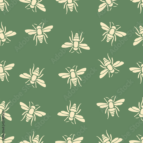 Cotton fabric Butterfly, bee seamless pattern, insects vector background. For fabric design, wallpaper, wrapping, print, paper