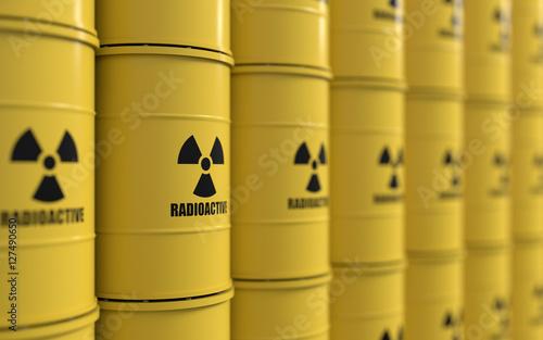 Fototapeta 3D rendering of yellows barrels containing radioactive material