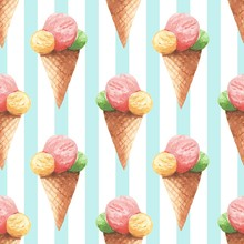 Watercolor Seamless Pattern With Cone Ice Cream. Cute Background 2