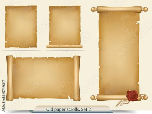 Obraz Set of old paper scrolls - fototapety do salonu