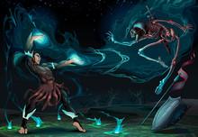 Fighting Scene Between Magician And Skeleton