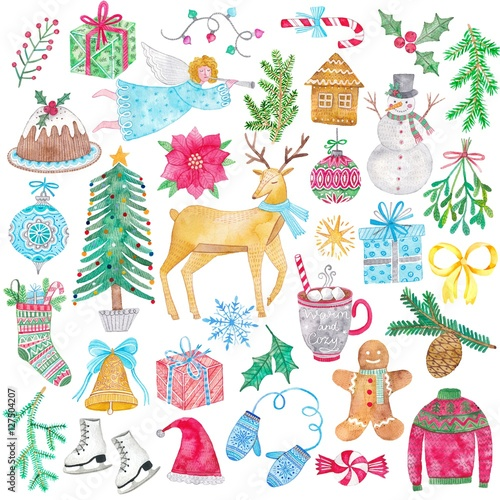 Foto auf AluDibond Boho-Stil Watercolor Christmas icon set