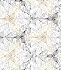 Panel SzklanyAbstract linear petal flower. Vector pattern