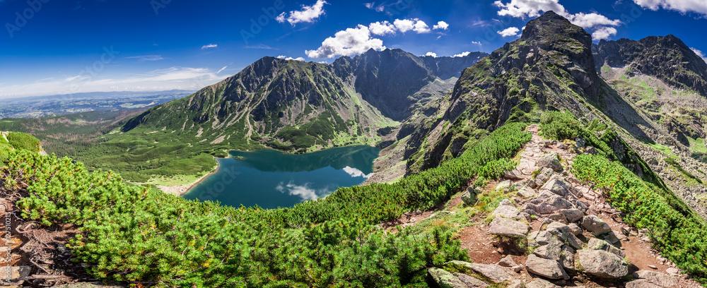 Fototapety, obrazy: Wonderful panorama of Czarny Staw Gasienicowy in Polish Mountains