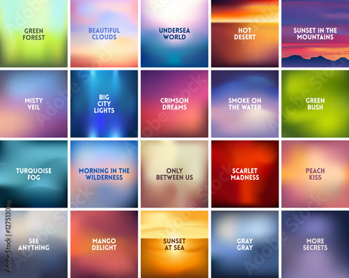Photo  BIG set of 20 square blurred nature backgrounds