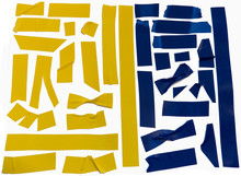 Collection Of Yellow And Blue Adhesive Tape Pieces.