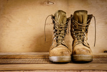 Old Brown Military Boots On A ...